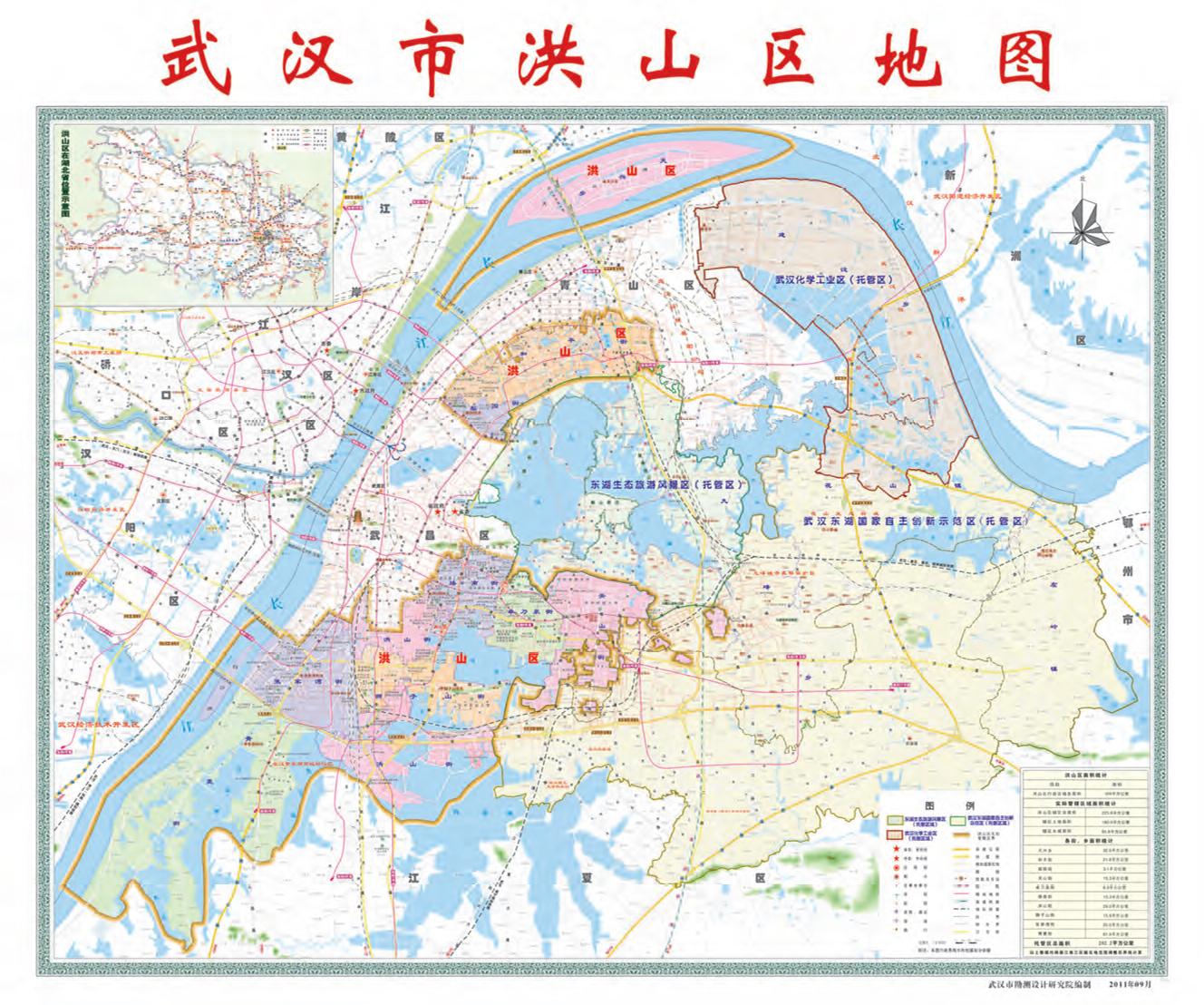 论坛 69 都市地铁 69 武汉区 69 2017年洪山区的行政区划地图